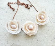 Shell and Pearl Rose Necklace - Sea Treasure Collection.