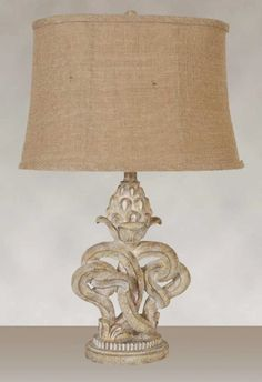 Distressed Tan Wood Look Finish with a Burlap Softback Oval Shade (2 Lamps), $114.69