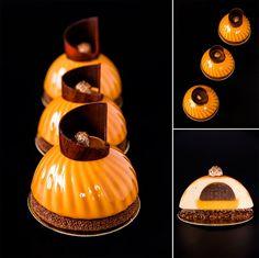 """Nina tarasova: Individual cake """"Caramel whirlwind"""": chocolate sable breton; caramel with praline and dates; orange caramel; caramel mousse and caramel glasage."""