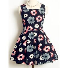 Vintage Square Neck Sleeveless Floral Printed A-Line Dress For Women