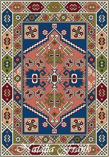 Natalia's Fine Needlework: New Pattern of the Month - Dollhouse Needlepoint Area Rug KAZAK