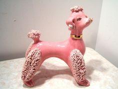 Vintage 1950s Dark Pink Spaghetti Poodle Dog Figurine