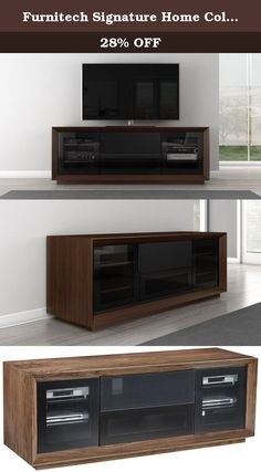 """Furnitech Signature Home Collection TV Media Console, Walnut. This 70"""" Versatile TV Media Console combines Warm Walnut with a Stunning Contoured Edge detail and Black Veneered Glass (IR Friendly). This Unique Contemporary Entertainment Center is a perfect Complement to today's Flat Screen and Audio/Video Technology."""