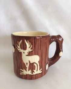 Vintage Wood Textured Ceramic Mug by ContemporaryVintage on Etsy #GotVintage #Vintage #Pottery