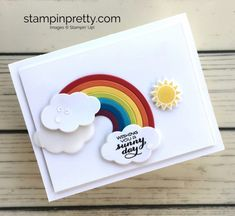 Learn how to create a simple card using Sunshine & Rainbows Builder Framelits - Mary Fish StampinUp