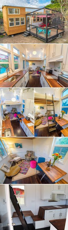 The Mauna Kea is a 28′ tiny house on wheels by Tiny Pacific Houses. This side entrance model includes a living room, large galley kitchen with upper cabinets on one side, and two loft bedrooms.