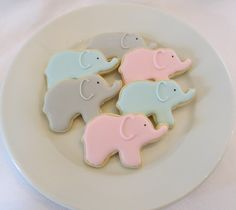Elephant cookie favors for a baby shower, decorated in your choice of color, 1 dozen. $36.00, via Etsy.
