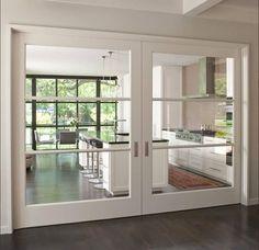 Over-Sized Interior Glass Doors +Crestbrook Kitchen Doors + Tatum Brown Custom Homes Kitchen Doors, Closed Kitchen, Kitchen Dining, Kitchen Cabinets, Kitchen Tables, Room Kitchen, Kitchen Ideas, Elegant Homes, Custom Homes