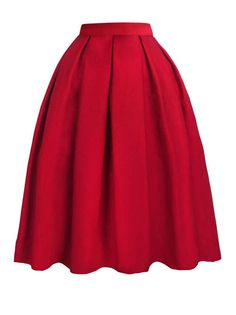 Pleated Solid Color Midi Skirt