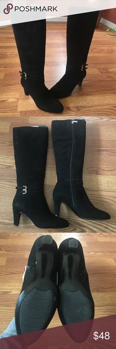 *MUST GO* Bandolino 'Wiser' Black Buckle Boots Bandolino 'wiser' Boots. Black suede. Gold accents. Buckle detail. Zipper on inside. Lightly worn. (Foam boot shapers not included) Bandolino Shoes Heeled Boots