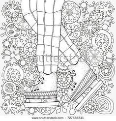 Winter boy on skates.  Winter snowflakes. Adult Coloring book page. Hand-drawn vector illustration. Pattern for coloring book. Zentangle. Black and white.