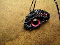 Custom Order - Candle Pendant - Glowing Dragon Eye - Sensual Honeysuckle - Pink Rose Evil Eye - Gothic Steampunk - Smoke Wire Swarovski  by LadyPirotessa, $59.98 USD