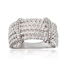Ross-Simons - .10 ct. t.w. Diamond Rope-Textured Bar Ring in Sterling Silver - #867828