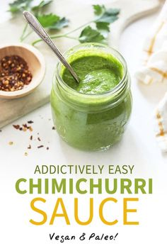 Chimichurri Sauce (That You'll Want To Pour On Everything!) This Chimichurri Sauce recipe is quick & easy, and full of flavor! It's made healthier and low-fat, using zucchini to replace some of the oil. Chimichurri Salsa, Chimichurri Sauce Recipe, How To Make Chimichurri, Other Recipes, Whole Food Recipes, Cooking Recipes, Healthy Recipes, Greens Recipe, Roasted Cauliflower