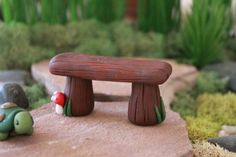 Polymer clay bench Terrarium Accessories Miniature by GnomeWoods: