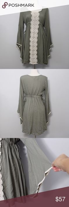 Spotted while shopping on Poshmark: Olive Green Dress with Lace Front and Bell Sleeves! #poshmark #fashion #shopping #style #Flying Tomato #Dresses & Skirts