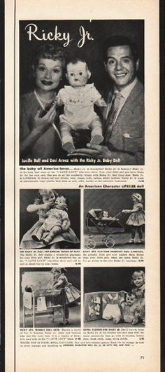"1953 AMERICAN CHARACTER DOLL COMPANY vintage magazine advertisement ""Ricky Jr."" ~ Lucille Ball and Desi Arnaz with the Ricky Jr. Baby Doll - the baby all America loves ~"