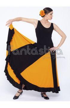 79c3646afc Vestido de Flamenca   Sevillana para Mujer Color Negro y Naranja