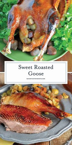 Sweet Roast Goose (Easy Instructions on How to Cook Goose) Easy Steps for How to Cook a Goose - Sweet Roasted Goose is a tried and true recipe for a succulent goose with crispy skin and tender meat seasoned with apple, orange and potato stuffing. Roast Goose Recipes, Duck Recipes, Retro Recipes, Chicken Recipes, Goose Breast Recipe, Cooked Goose, Grilling Recipes, Cooking Recipes, Easy Baked Pork Chops