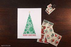 Merry Christmas Card Set  Letterpress Bubble Tree Cards  by kbatty