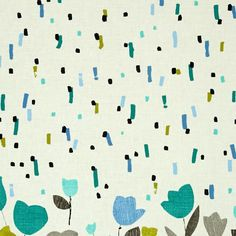 """Cachet Double Border Green/Gray from @fabricdotcom  Designed by Michele D'Amore for Benartex this cotton print is perfect for apparel, quilting and home decor accents. Colors include shades of grey, cream, teal, green, and blue. Border on tulip side measures 17"""" deep and on the other side measures 3""""."""