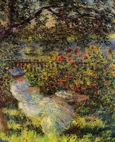 Claude Oscar Monet (French, 1840 - 1926) ~ Alice Hoschedé au jardin (Alice Hoschedé in the Garden), 1881; oil on canvas (81 x 65 cm); private collection French Impressionist Painters, Claude Monet, Alice, Collection, Gardens