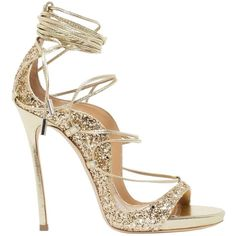 Dsquared2 Sandals featuring polyvore, women's fashion, shoes, sandals, oro, leather sandals, glitter sandals, genuine leather shoes, lace up shoes and glitter high heel shoes