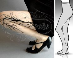 new: Large/Extra Large sexy Long Branches tattoo tights / stockings /  full length /  pantyhose / nylons Ultra Pale.via Etsy.