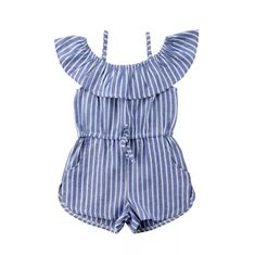 Off Shoulder Blue Striped Drawstring Romper Toddler Girl Romper, Girls Playsuit, Girls Rompers, Boho Romper, Toddler Rompers, Baby Girl Fashion, Toddler Fashion, Kids Fashion, Overall Shorts