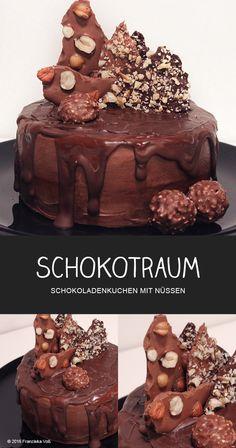 SCHOKOTRAUM - Schokoladenkuchen mit Nüssen - Drip Cake