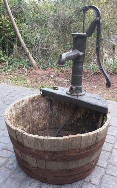 Vintage Antique Garden Water Feature Pump Cast Iron & Oak Barrel Planter Tub in Antiques, Architectural Antiques, Garden   eBay