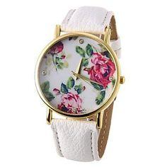 45aa61260bd Women s Flower Pattern PU Band Quartz Wrist Watch Off