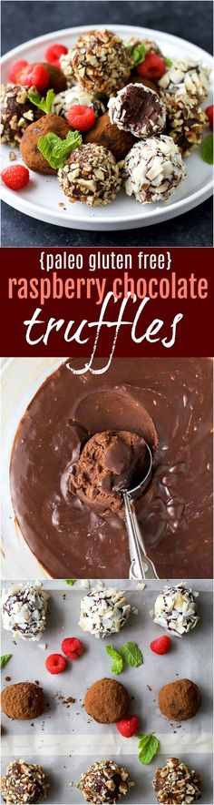 Easy Paleo Raspberry Chocolate Truffles using only 4 ingredients. Rich, decadent and everything you want in a chocolate truffle. The perfect healthy dessert for the holidays!