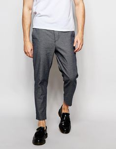 Image 1 of New Look Tapered Cropped Trousers In Blue