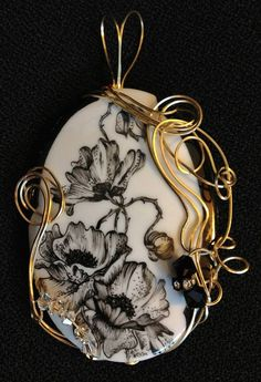 Pen work on porcelain by Alicia Weston Spears, wire wrapped by Bonny Eberly, N.Y.