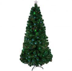 7' Artificial Christmas Tree Multicolor Lights LED Fiber Optic w Stand Pre-Lit  #DanAnnStore