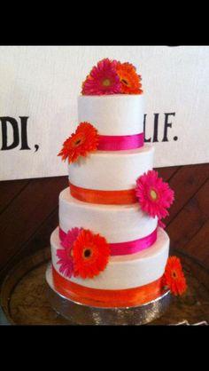 Orange And Pink Wedding Cake