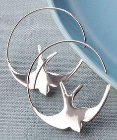 Look at this Sterling Silver Swallow Hoop Earrings on #zulily today!