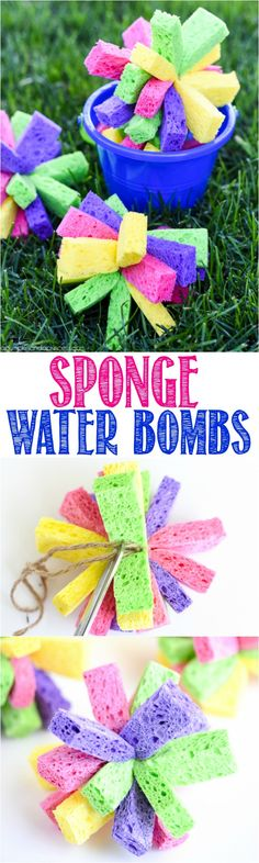 How to make sponge bombs – beat summer boredom with this easy DIY water activity. Kids will love soaking and tossing the colorful sponge bombs for hours!