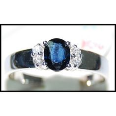 Blue Sapphire Genuine Solitaire Diamond Ring 18K White Gold [RS0124]