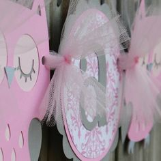 Pink and grey owl banner for baby shower.