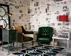 newspaper walls! Love this for a fun office but with with more pop colors!