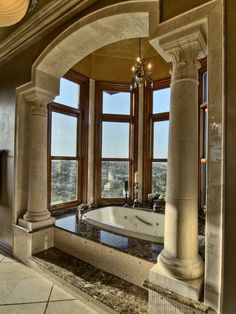 I heart columns! Traditional Bathroom Design, Pictures, Remodel, Decor and Ideas - page 11 Dream Bathrooms, Beautiful Bathrooms, Luxury Bathrooms, Luxury Bathtub, Bathrooms Decor, Country Bathrooms, Contemporary Bathrooms, Bathroom Interior, Contemporary Furniture
