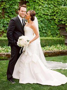 Tamera Mowry & Adam Housley (May 15, 2011) Gown: Carolina Herrera   Location: Napa Valley, CA   Status: Married, Expecting Baby