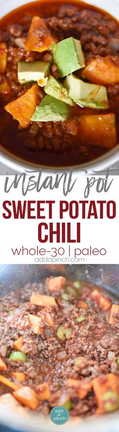 Instant Pot Sweet Potato Chili Recipe - This Instant Pot Sweet Potato Chili makes a hearty, delicious chili recipe in minutes! Made with ground beef, sweet potatoes, and packed with flavor! // addapinch.com
