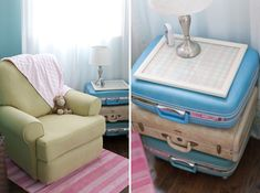 love the vintage suitcases as a side table. Brilliant