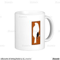 silhouette of sitting birds coffee mug
