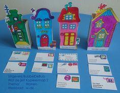 Kleur de huisjes in en plak deze tegen kleine doosjes aan, waardoor ze kunnen blijven staan. Knip de post uit en laat de kinderen die naar de juiste huizen brengen