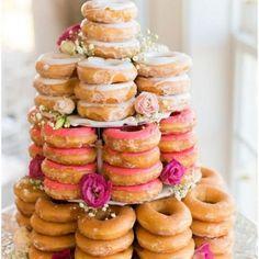 vintage doughnut wedding cake