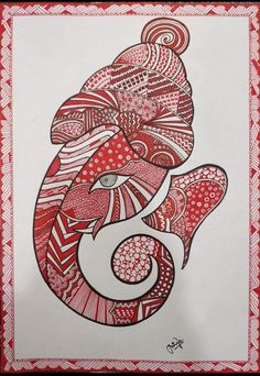 Madhubani Art, Madhubani Painting, Art Crafts, Arts And Crafts, Pichwai Paintings, Beautiful Rangoli Designs, Elephant Art, Pen Art, Ganesha